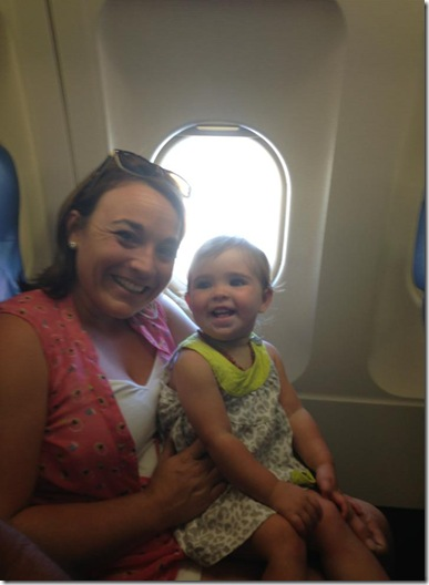 Sherece and Stella on the plane
