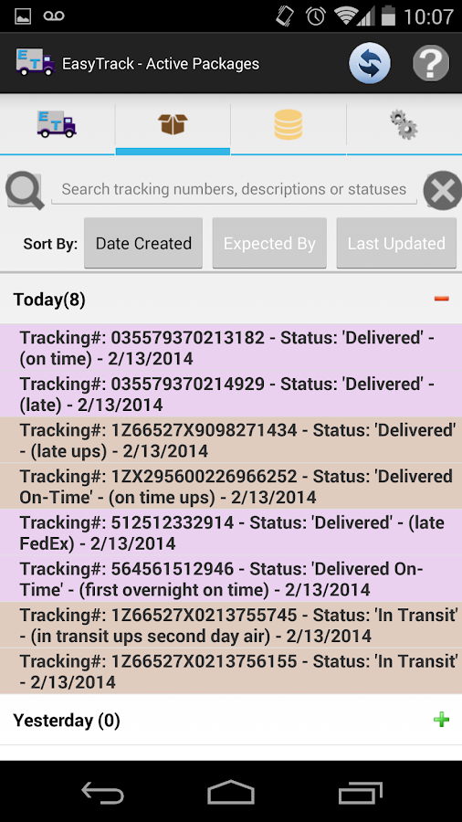 EasyTrack Package Tracking App- screenshot