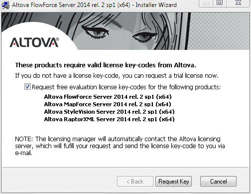 Altova Server Software Evaluation key-codes