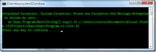 Throw new exception C#