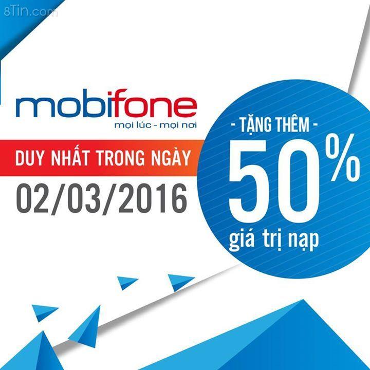 Hôm nay MobiFone khuyến mãi 50% dành cho thuê bao trả trước,