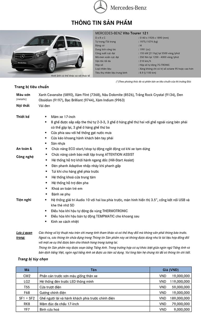Thông số kỹ thuật Xe Mercedes Benz Vito Tourer 121 8 Chỗ Máy Xăng 01