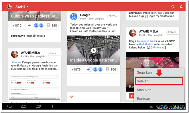 Screenshot Menu Setelan Pada Google+ For Android