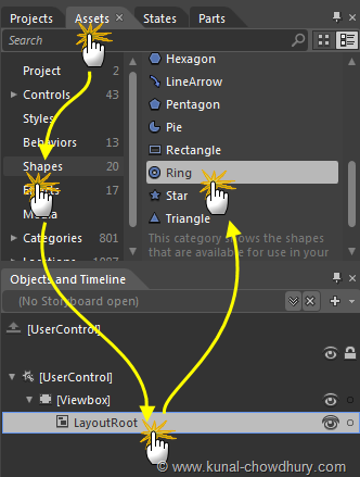 Selecting Ring Control from the Shapes Assets in Expression Blend