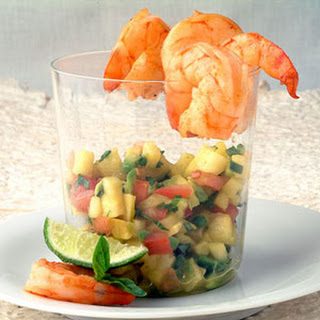 Seared Shrimp Cocktail with Tropical Chipotle-Avocado Salsa.