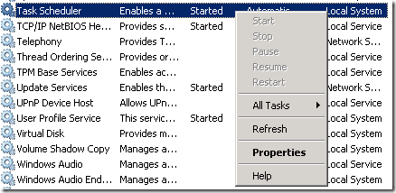 Ben's System Center Experience: Windows Services: Task