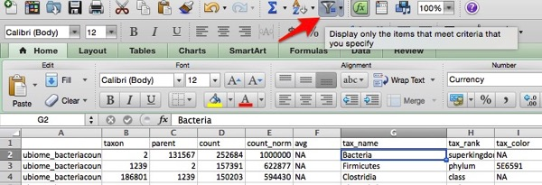 Screenshot Excel filter