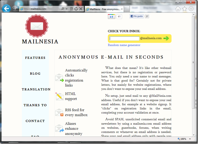 Mailnesia.com screenshot