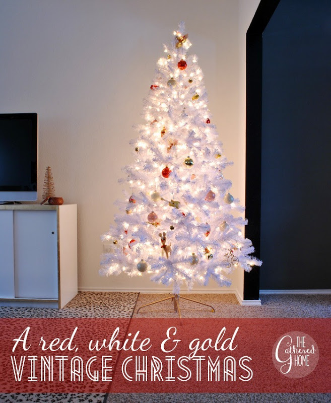the gathered homes red white and gold christmas decorations - White Christmas Tree With Red And Gold Decorations