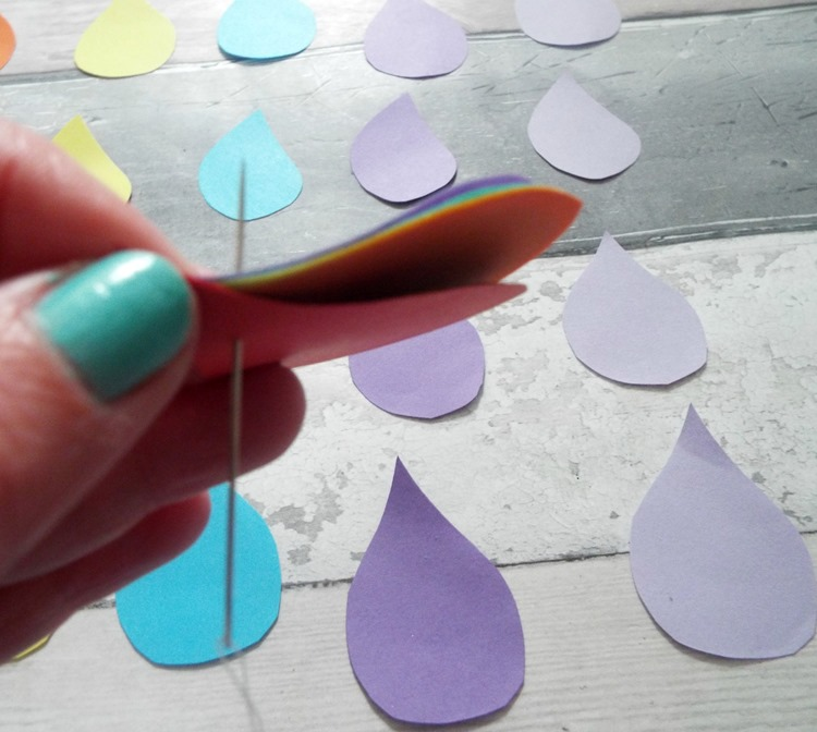 how to make rainbow raindrops piercing raindrops with needle and thread