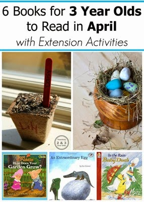 April Books for 2 and 3 year olds with extension activities