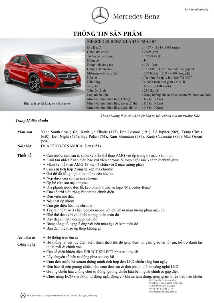 Thông số kỹ thuật xe Mercedes Benz GLA250