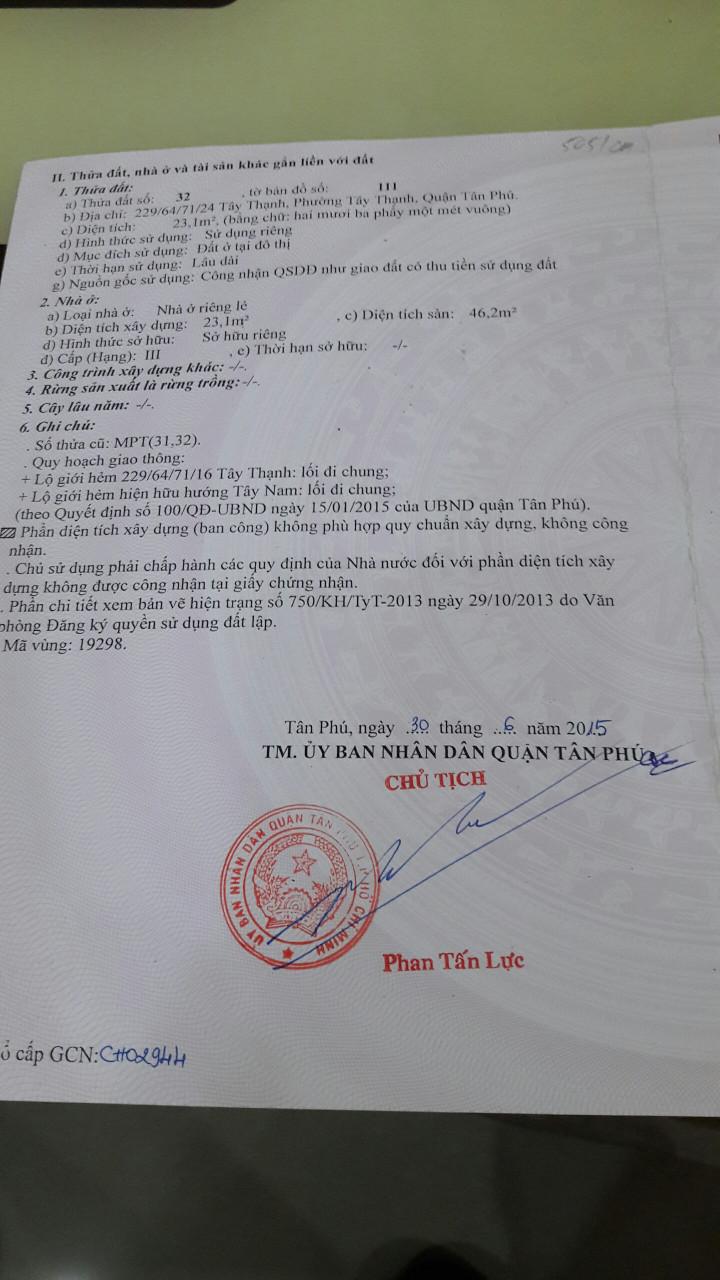 Bán nhà 1 trệt 1 lầu hẻm đường Tây Thạnh Quận Tân Phú, diện tích 23m2-2