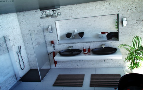 Modern-Stone-bathroom-Double-sink