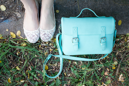Mint green satchel & lacey ballet flats | Lavender & Twill