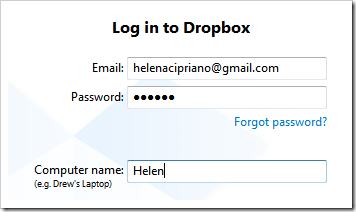 Login no Dropbox