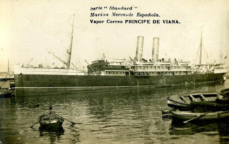 Vapor Correo PRINCIPE DE VIANA. Postal. Barcelona. Ca. 1920.JPG