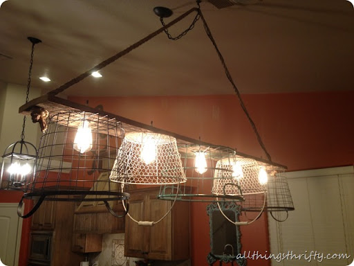 wire basket chandelier tutorial finally all things thrifty rh allthingsthrifty com Wire Dome Pendant Light Shop Wire Basket Light Fixture