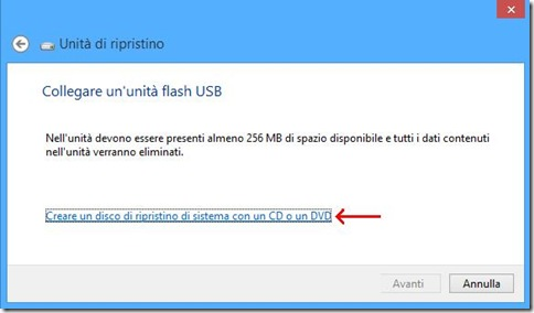 Windows 8 creare disco di ripristino su unità USB o su CD o DVD