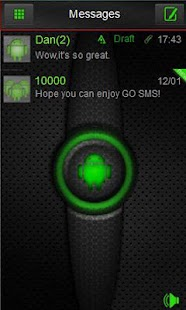 Green Glow Go SMS Theme - screenshot thumbnail