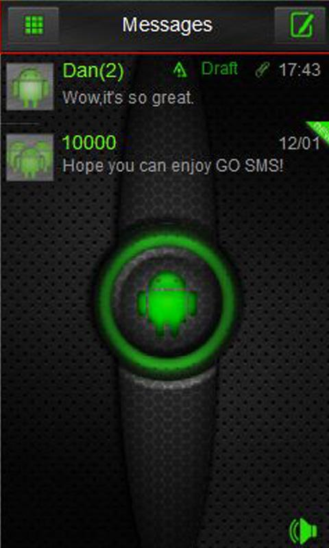 Green Glow Go SMS Theme - screenshot