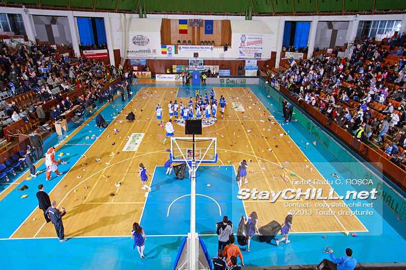 Plush toys are thrown on the court before the start of the FIBA EuroChallenge game between BC Mures from Romania and Rilski Sportist from Bulgaria played at City Arena in Tirgu Mures on December 17th, 2013.