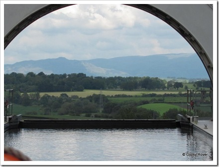 What a view through the end of the Falkirk Wheel caisson in the top position.