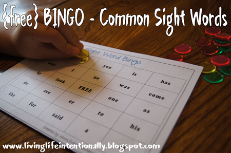 Sight Word games - free printable common sight words BINGO