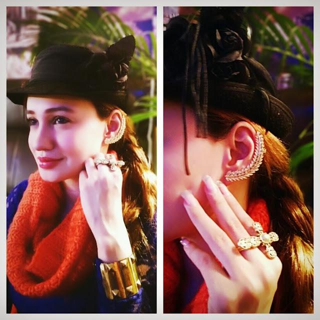 Gold Ear Cuff, Cross Ring, Gold Cuff Bracelet