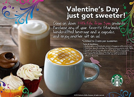 Starbucks Valentine day drink cupcake set free