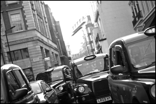 London Taxis in Black and White
