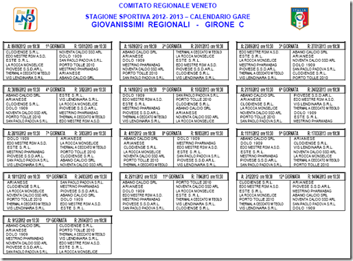 Calendario Seconda Categoria Veneto.Giovanissimi Vigor Cintese 2010 2011 Calendario