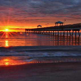 Buckroe Beach Sunrise by James Gramm - Landscapes Sunsets & Sunrises ( fishing pier, water, sand, bay, beach, sunrise, sun )