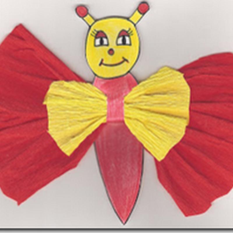 Manualidades, mariposa de papel pinocho - crepé