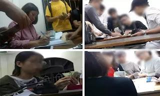 """Nườm nượp cảnh đóng tiền """"chống trượt"""" tại khoa Ngoại ngữ, Đại học Công nghiệp Hà Nội."""