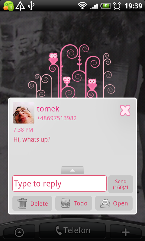 GO SMS Pro Pink Owl Theme- screenshot