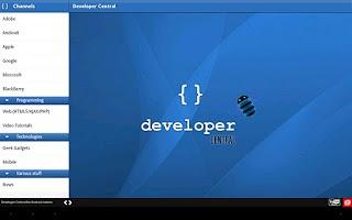 Screenshot of Developer Central for tablets