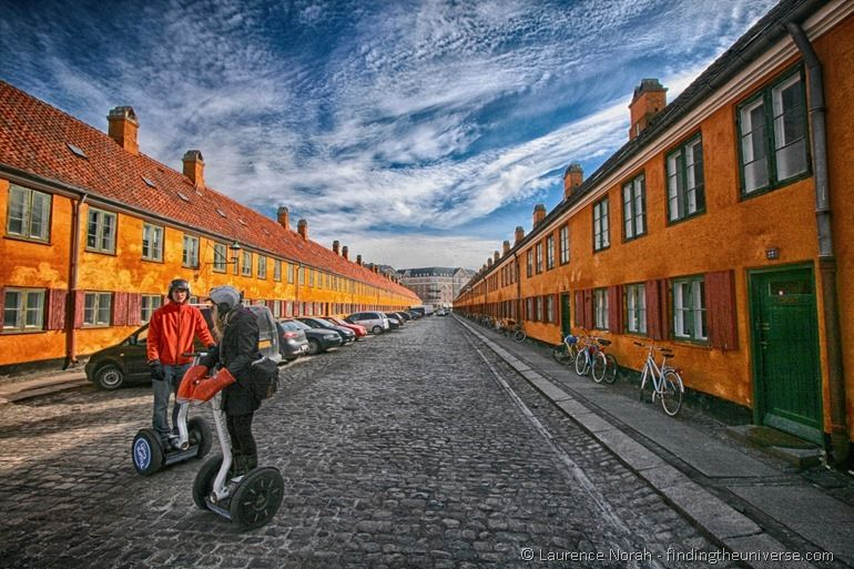 Vera and Sam Segway tour Copenhagen colourful street