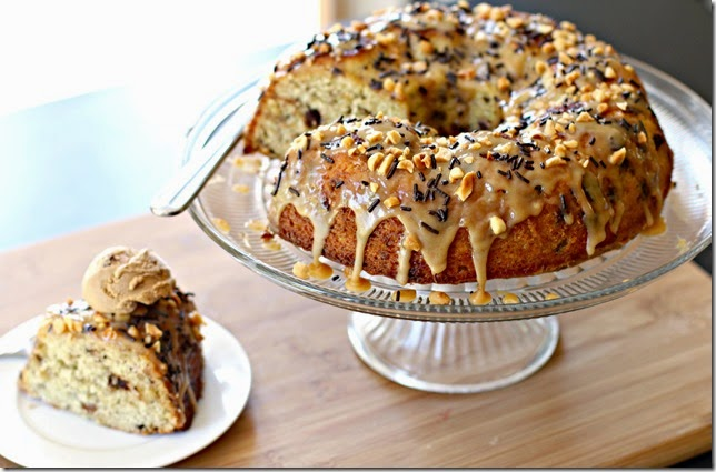 Banana Chocolate Sprinkle Cake with Peanut Butter Glaze5