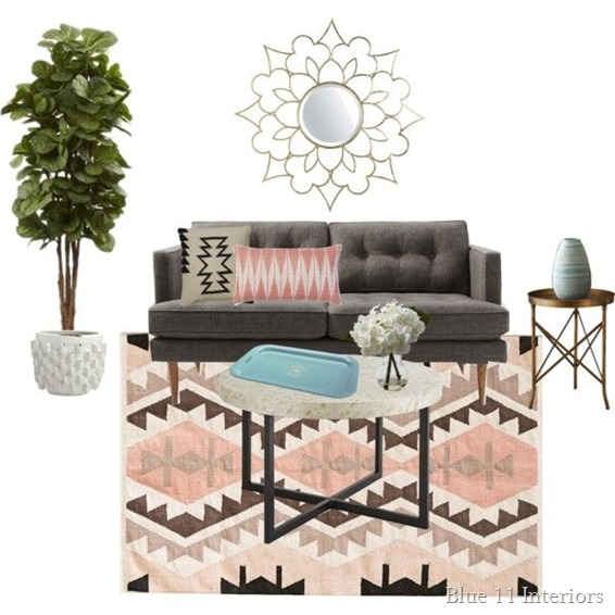 Living Room with Blush Accents