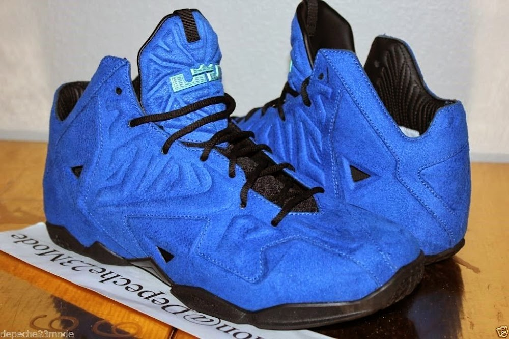 5889aa733c3 ... Nike LeBron XI EXT 8220Blue Suede8221 Sample 8211 Up Close amp Personal  ...