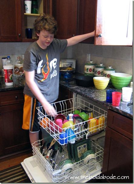 Morgan doing dishes