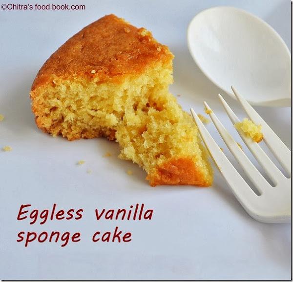 eggless vanilla sponge cake recipe piece