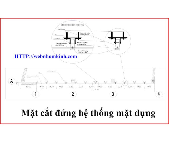 Mặt cắt đứng của công trình và chi tiết liên kết vách mặt dựng
