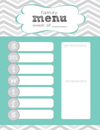 chevron weekly menu printable
