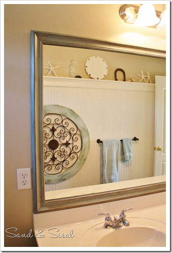 Bead board bathroom painted framed mirror after (683x1024)