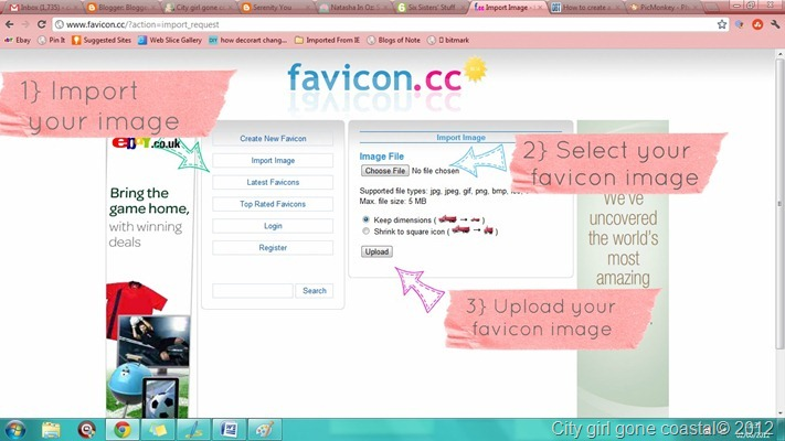 uploading favicon image to favicon