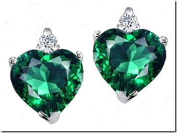 earring with green heart