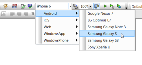 MobileTogether Simulator choices for Android
