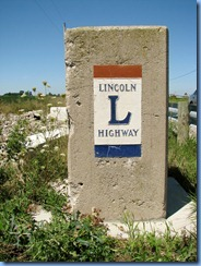 3982 Ohio - Lincoln Highway - dead end - 1930 concrete bridge - 2nd concrete pillar with ceramic Lincoln Highway plaque